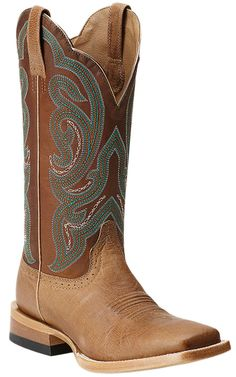 Ariat® Antonia™ Women's Tan with Sassy Brown Top Square Toe Cowboy Boots