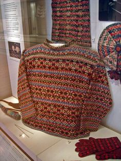 Edinburgh,National Museum of Scotland display of textile machinery and a display of Fair Isle knitting