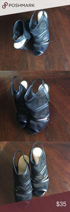 Jessica Simpson Open Toe Heels Black mesh Jessica Simpson Open Toe Heels Size 9M Jessica Simpson Shoes Heels