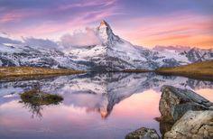 Matterhorn sunrise reflects, Stellisee, Switzerland.