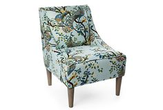 Fletcher Swoop-Arm Chair, Light Blue on OneKingsLane.com- great silhouette, classic styling and peacocks are so in right now.