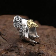 Men's Sterling Silver Eagle Wrap Ring - Jewelry1000.com Mens Silver Jewelry, Sterling Silver Mens Rings, Silver Necklaces, Silver Earrings, Hammered Silver, 925 Silver, Silver Gifts, Eagle Ring, Silver Rings With Stones