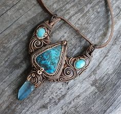 Chrysocolla Chrysoprase and Aqua Aura Quartz Pendant Necklace Polymer Clay Necklace, Polymer Clay Pendant, Polymer Clay Art, Fantasy Jewelry, Jewelry Art, Jewellery, 4 Elements, Style Steampunk, Aqua Aura Quartz