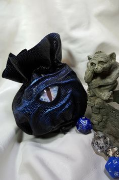 Large  Dice Bag in Black Skin Like Leather With by EmBraceLeather