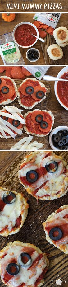 These Mini Mummy Pizzas are a perfect way to get the kids involved in their Halloween meals! Click for the spooky (and fun!) recipe.