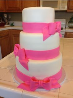 Simple Tiered Cake with Ribbon