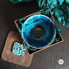 Turquoise ceramic soup plate with whale in a gift box.