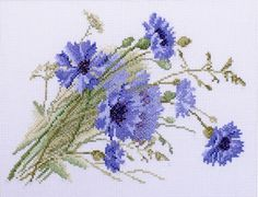 Modern Cross Stitch Hand Embroidery Kit with Pattern by Russian Manufacture Cornflowers Flowers Cross Stitch Gift Idea Cross Stitch Needles, Cross Stitch Rose, Modern Cross Stitch, Cross Stitch Flowers, Cross Stitch Charts, Cross Stitch Patterns, Flower Embroidery Designs, Simple Embroidery, Embroidery Kits