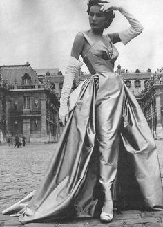 "Silk tafetta evening gown creation by Christian Dior named ""Versailles,"" 1951"