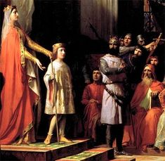 Maria de Molina and Fernando IV before the Courts of  Valladolid (detail of an oil painting by Antonio Gisbert)