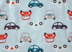 Retro Stoff mit Autos oraneweiß Autostoff von PicknickerBlue