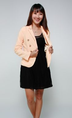 Military Gold Buttons Blazer (Peach) - $25.71 on @ClozetteCo