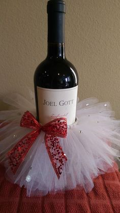 Superb Wine Lover Decorative Wine Bottle Ornament Tutu With Rhinestones Set Of 2