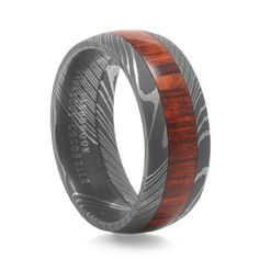LASHBROOK DESIGNS Damascus Steel Ring With Natcoco Wood Inlay