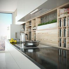 Wizualizacja kuchni z okapem do zabudowy Loteo White GLOBALO 2