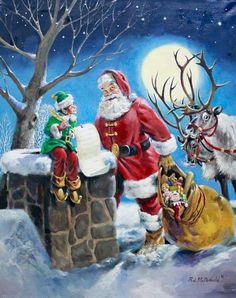 McDonald Checking it Twice Santa and Elf helper are Double checking the Christmas List Image Size x Comes with Certificate R. McDonald Checking it Twice Santa and Elf helper are Double checking the Christmas List Image Size x Comes with Certificate Christmas Scenes, Noel Christmas, Vintage Christmas Cards, Christmas Balls, Christmas Pictures, Winter Christmas, Father Christmas, Christmas Ornaments, Christmas Wreaths