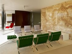 Interior at Villa Tugendhat by Ludwig Mies van der Rohe interior. Built of reinforced concrete between for Fritz Tugendhat Ludwig Mies Van Der Rohe, Form Architecture, Architecture Wallpaper, Villa Tugendhat, Glass Room, Living Spaces, Living Area, Outdoor Furniture Sets, Arquitetura