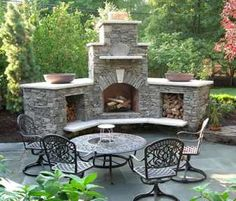 On the curve of my outside patio. . .Except Pizza oven above fire place