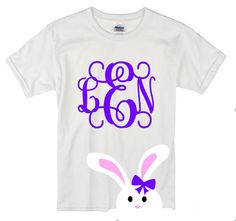 Monogrammed Easter Bunny Shirt for Girls/ Bunny Shirt/Girl's Easter T Shirt/ Baby's/Toddlers/Youth, Teen Easter T Shirt