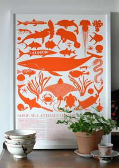 Sea creatures feel artsy in silhouette. Some Sea Animals of the Gulf Coast, $60 for 20x27.5-inch print; banquetworkshop.com. Courtesy of Manufacturer  - Redbook.com Illustrations, Illustration Art, Animal Posters, Stationery Design, Sea Creatures, Banquet, Large Prints, Screen Printing, Artsy