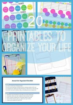 Getting organized has never been so easy! Check out these 20 free printables to organize your life including meal planning, cleaning, chore charts, coupon organizers, and more!