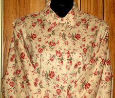 NWOT Woman's Laura Ashley Cotton Long Sleeve Button Front Floral Shirt Size 14