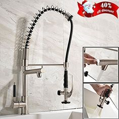 Ufaucet High Arc Heavy Spiral Spring Stainless Steel Brushed Nickel Single Handle Pre Rinse Pull Out Pull Down Kitchen Faucet, Kitchen Sink Faucet with Sprayer