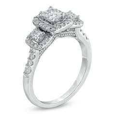 1 CT. T.W. Certified Radiant-Cut Diamond Three Stone Ring in 14K White Gold (H-I/I1) - Zales
