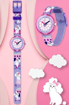The ideal co-pilots for kids on the move, MISS POODLE (ZFPNP068) makes a big first impression thanks to its purple, machine-washable at 40°C, strap and BPA shock-resistant case. The ideal gift for little ones who just love dogs, this Swiss made watch for kids is super popular thanks to its one-of-a-kind style. Swiss Made Watches, Pilots, Poodle, Little Ones, Swatch, Popular, Big, How To Make, Collection