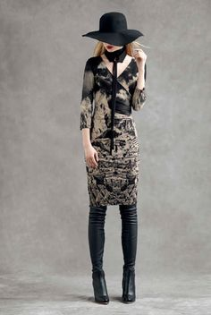 ISABEL DE PEDRO BEIGE AND BLACK PRINT DRESS – Jessimara