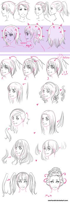 A hair tutorial by CoorTenshi.deviantart.com on @deviantART ★ || CHARACTER DESIGN REFERENCES™ (https://www.facebook.com/CharacterDesignReferences & https://www.pinterest.com/characterdesigh) • Love Character Design? Join the #CDChallenge (link→ https://www.facebook.com/groups/CharacterDesignChallenge) Share your unique vision of a theme, promote your art in a community of over 50.000 artists! || ★