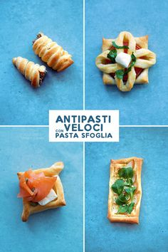 4 appetizers with quick and tasty puff pastry (vegetarian antipasti con pasta sfoglia veloci e sfiziosi (vegetariani, di carne e di pesc… 4 appetizers with quick and tasty puff pastry (vegetarian, meat and fish … – - Puff Pastry Appetizers, Puff Pastry Recipes, Vegetarian Buffet, Vegetarian Recipes, Beef Skillet Recipe, Skillet Recipes, Party Food Buffet, Tailgate Food, Savoury Dishes