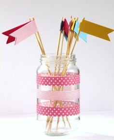 cute gift tags, banners, washi tape, twine, etc. Tapas, Duct Tape, Masking Tape, Mason Jar Crafts, Mason Jars, Glass Jars, Washi Tape Crafts, Washi Tapes, Fun Crafts
