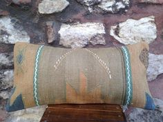 12' x 24' Handmade Sivas Kilim Cicim Pillow Cover, 70 years old rug, mint green, blue, beige striped cushion lumbar, vintage 1940s.