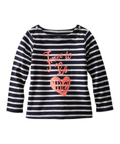 Look at this #zulilyfind! Navy Stripe 'Free to Be Me' Tee - Toddler & Girls #zulilyfinds