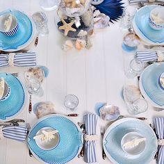 Mesa Blue SUMMER. Decoración en azul y blanco. Mesa marinera. Mantel de piqué de algodón en tono crudo. www.leduet.es