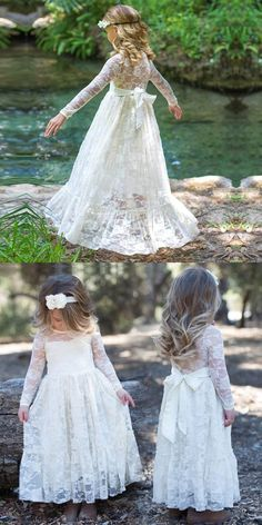 White Cream Pink Lace Flower Girls Dresses for | PrettyLady