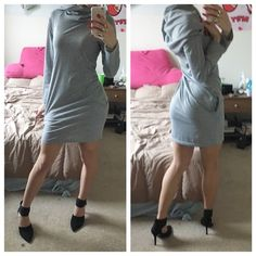 Casual Hooded Dress New only tried on once no tags/brand tags. Gray casual hooded dress has tiny pockets on sides light and adorable Dresses