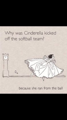 Cinderella joke lunch note, illustration by Molly Brett Cute Jokes, Corny Jokes, Funny Jokes For Kids, Dad Jokes, Funny Softball Quotes, Softball Pictures, Girls Softball, Volleyball, Softball Stuff