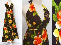 Label: Hukilau Fashions, Made in Honolulu 100% woven cotton, unlined Color: Dark Chocolate brown, orange, yellow, green  Island Ready! Authentic