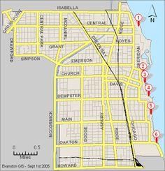 beach map, Evanston beaches