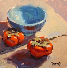 "Daily Paintworks - ""Persimmons and Blue Bowl"" - Original Fine Art for Sale - © Cathleen Rehfeld Food Painting, Pottery Painting, Gouache Painting, Painting & Drawing, Still Life Fruit, Painting Still Life, Fruit Art, Small Paintings, Simple Art"