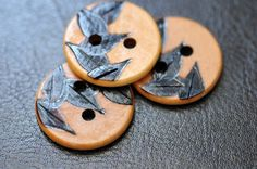 Leaves Wooden Buttons Woodburning £4.25