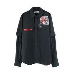 AMBUSH SSS OVERSIZED 2-WAY SHIRT / BLACK ($355) ❤ liked on Polyvore featuring tops, clothing - ls tops, shirts, oversized cotton shirts, cotton shirts, shirt top, oversized tops and over sized shirts