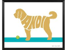 Personalized Goldendoodle Print  Framed 8x10 Dog by ElainesPrints