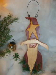 primitive wooden santa  | Rustic St. Nick Wooden Wall Decor, Primitive Wooden Santa, Christmas ...