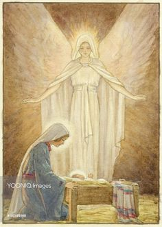 Margaret Tarrant - 'The Guardian' - Mary with Jesus in crib and Angel behind. Blessed Mother Mary, Divine Mother, Blessed Virgin Mary, Christian Images, Christian Art, Religious Paintings, Religious Art, Images Of Mary, Mama Mary