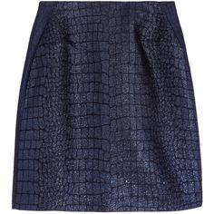 Richard Nicoll Metallic jacquard mini skirt (£105) ❤ liked on Polyvore featuring skirts, mini skirts, bottoms, faldas, юбки, blue, mini, richard nicoll, short skirts and blue mini skirt
