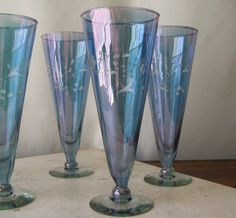 Water Goblets Iridescent Lavender Blue Etched Glassware Set of Six Hand Blown Fluted Glasses Pilsner Cocktail Barware Vintage 1980s