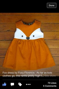 Little fox dress. do you need me to make you a big fox dress? Little Girl Fashion, Little Girl Dresses, Kids Fashion, Girls Dresses, Toddler Fashion, Trendy Fashion, Baby Outfits, Kids Outfits, Toddler Outfits